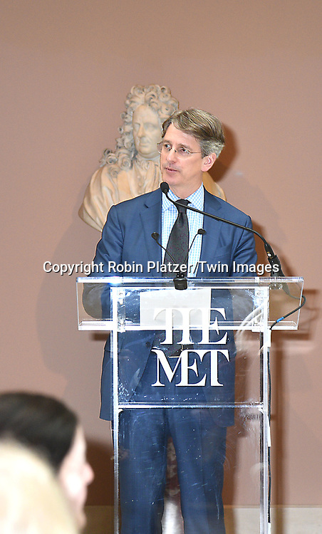 Thomas P Campbell  speaks at the Press Preview of Rei Kawakubo/Comme des Garcons: Art of the In-Between exhibit at The Costume Institute at the Metropolitan Museum of Art on May 1, 2017 in New York, New York, USA. <br /> <br /> photo by Robin Platzer/Twin Images<br />  <br /> phone number 212-935-0770