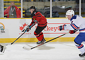 Dawson Creek, BC - Dec 7 2019: Game 2 - USA vs Canada West at the 2019 World Junior A Championship at the ENCANA Event Centre in Dawson Creek, British Columbia, Canada. (Photo by Matthew Murnaghan/Hockey Canada)