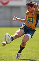Tyler Stevens kicks during the International rugby match between New Zealand Secondary Schools and Suncorp Australia Secondary Schools at Yarrows Stadium, New Plymouth, New Zealand on Friday, 10 October 2008. Photo: Dave Lintott / lintottphoto.co.nz