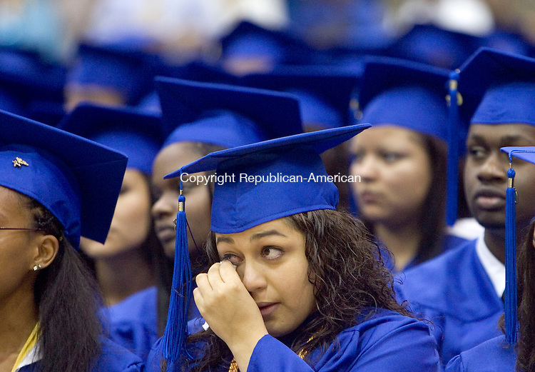 WATERBURY, CT- 16 JUNE 2008- 061608JT03-<br /> Crosby graduate Jazman Acosta dries her eyes during graduation ceremonies at Crosby on Monday night. <br /> Josalee Thrift / Republican-American