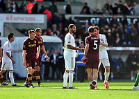 Pictured: (L-R) Luke Moore, Pablo Zabaleta, Angel Rangel.<br /> Saturday 04 May 2013<br /> Re: Barclay's Premier League, Swansea City FC v Manchester City at the Liberty Stadium, south Wales.