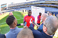 San Diego, CA - Saturday January 28, 2017: Jozy Altidore addresses the media during a USMNT press conference at Qualcomm Stadium.