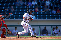 Mesa Solar Sox left fielder Daniel Johnson (13), of the Washington Nationals organization, follows through on his swing during a game against the Surprise Saguaros on October 20, 2017 at Sloan Park in Mesa, Arizona. The Solar Sox walked-off the Saguaros 7-6.  (Zachary Lucy/Four Seam Images)