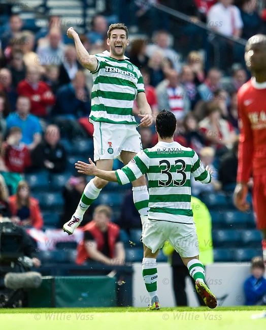 Charlie Mulgrew celebrates his opening goal for Celtic