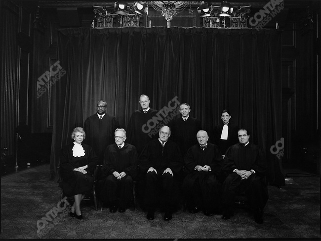 The nine justices of the Supreme Court of the United States: (top row, left to right) Clarence Thomas, Anthony Kennedy, David Souter, Ruth Bader Ginsburg; (bottom row, left to right) Sandra Day O'Connor, Harry Blackmun, William Rehnquist, John Paul Stevens, and Antonin Scalia. December 1993.