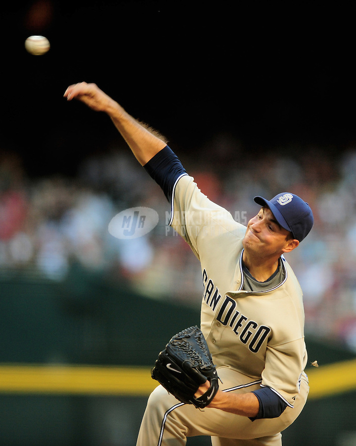 Apr. 19, 2008; Phoenix, AZ, USA; San Diego Padres pitcher Chris Young throws against the Arizona Diamondbacks at Chase Field. Mandatory Credit: Mark J. Rebilas-