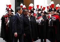 Il Presidente del Consiglio Matteo Renzi accoglie il Presidente del Congo Denis Sassou N'Guesso, a destra, a Palazzo Chigi, Roma, 26 febbraio 2015.<br /> Italian Premier Matteo Renzi and Congo's President Denis Sassou Nguesso, right, review the honor guard at Chigi Palace, Rome, 26 February 2015.<br /> UPDATE IMAGES PRESS/Isabella Bonotto