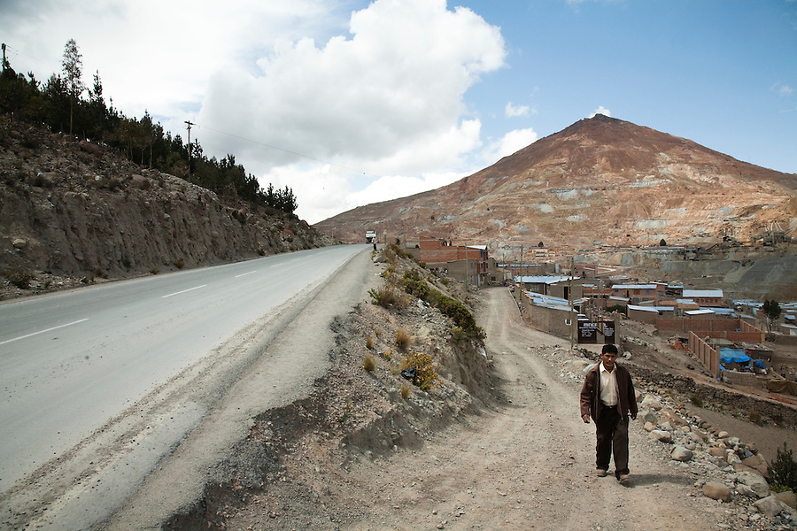 Main highway, where it passes through the miner's barrio in Potosí, Bolivia.