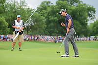 Kevin Kisner (USA) gives a fist bump after sinking his putt on 18 to win the 2017 Dean &amp; Deluca Invitational, at The Colonial, Ft. Worth, Texas, USA. 5/28/2017.<br /> Picture: Golffile | Ken Murray<br /> <br /> <br /> All photo usage must carry mandatory copyright credit (&copy; Golffile | Ken Murray)