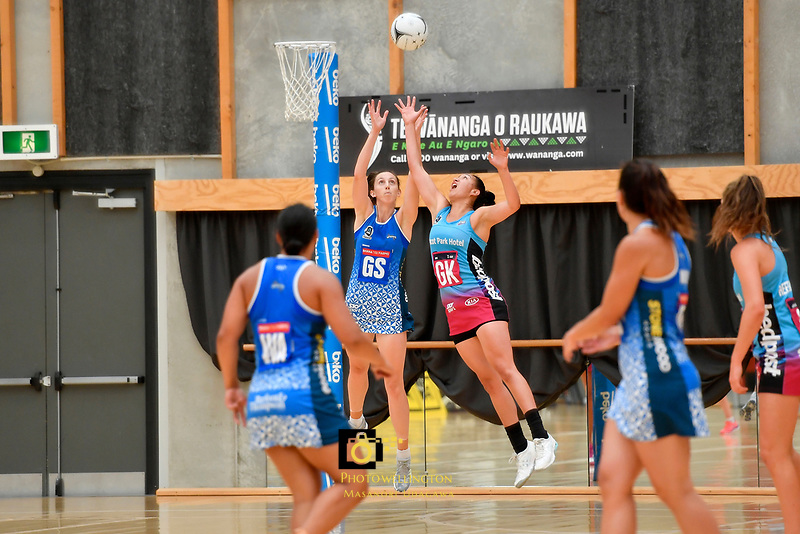 Mystics&rsquo; Bailey Mes and Steel Courtney Elliott  in action during the Netball Pre Season Tournament - Mystics v Steel at Ngā Purapura, Otaki, New Zealand on Saturday 9 February  2019. <br /> Photo by Masanori Udagawa. <br /> www.photowellington.photoshelter.com