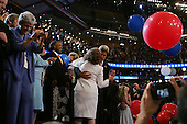 Boston, Mass..USA.July 29, 2004..The final night of the Democratic National Convenvention. Senator John Kerry, the Presidentual nomaniee for democtratic ticket, addresses the crowd. Kerry dances with his wife Teresa Heinz.