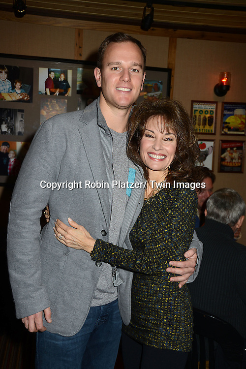 "Andreas Huber and his mother Susan Lucci attend the Ricky Paull Goldin premiere party and fundraiser for his new HGTV show ""Spontaneous Construction"" which will air on February 15, 2013. The party was on February 10, 2013 at Guy's American Kitchen in New York City."