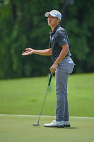 Lloyd Jefferson GO (PHI) reacts to barely missing his putt on 9 during Rd 1 of the Asia-Pacific Amateur Championship, Sentosa Golf Club, Singapore. 10/4/2018.<br /> Picture: Golffile | Ken Murray<br /> <br /> <br /> All photo usage must carry mandatory copyright credit (&copy; Golffile | Ken Murray)