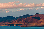 Pyramid Lake sunset and cloud beams