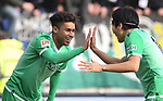 30.11.2019,  GER; 2. FBL, FC St. Pauli vs Hannover 96 ,DFL REGULATIONS PROHIBIT ANY USE OF PHOTOGRAPHS AS IMAGE SEQUENCES AND/OR QUASI-VIDEO, im Bild Linton Maina (Hannover #11) schiesst das 1-0 fuer Hannover vorbei an Torhueter Robin Himmelmann (Pauli #30) und jubelt mit Genki Haraguchi (Hannover 10) Foto © nordphoto / Witke *** Local Caption ***