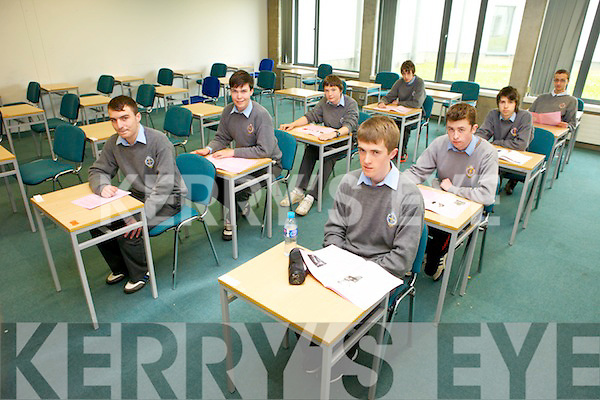 Junior and Leaving Cert., students from CBS The Green are this year taking exams in the IT Tralee, the first time state exams have been taken externally from the school. PICtured were: Padraig Hobbert, Stewert Boyle, Kieran Maher, Conor Slattery, Enda Jordan, Jack O'Conor, Liam Chaill and Kevin O'Shea.