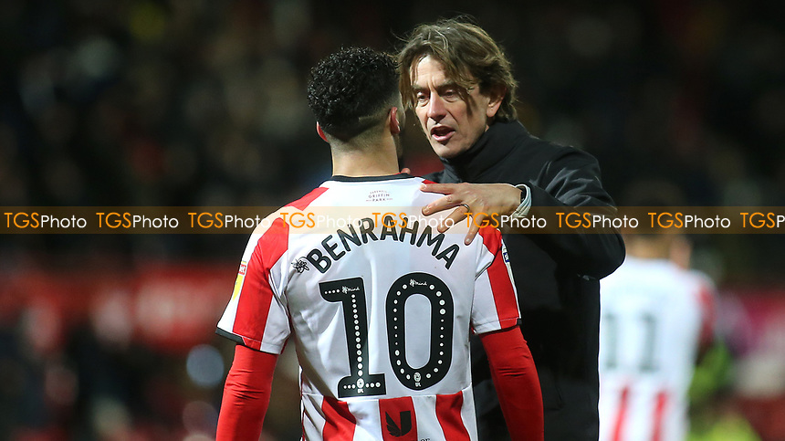 Brentford Head Coach, Thomas Frank, talks with Said Benrahma at the final whistle during Brentford vs Leeds United, Sky Bet EFL Championship Football at Griffin Park on 11th February 2020