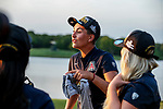 STILLWATER, OK - Gigi Still of Arizona talks with her teammates after winning the Division I Women's Golf Team Match Play Championship held at the Karsten Creek Golf Club on May 23, 2018 in Stillwater, Oklahoma. (Photo by Shane Bevel/NCAA Photos via Getty Images)