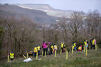 Children and staff from Blaendulais primary school in Seven Sisters near Neath hard at work planting trees during the National Forest launch at the Woodland Trust event high on the mountainside above Neath in South Wales this morning at the newly planted Coed Cadw woodland.<br /> Re: National Forest launch at the Woodland Trust event high on the mountainside above Neath in South Wales this morning at the newly planted Coed Cadw woodland.
