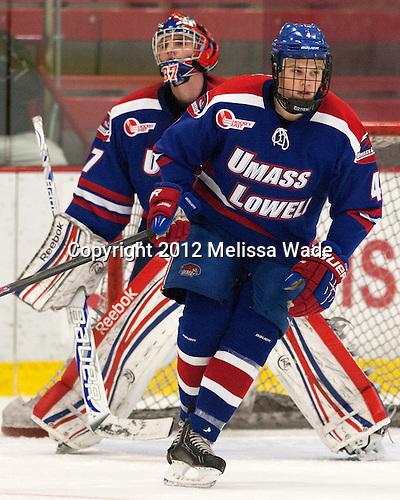 Joe Houk (UML - 4) - The visiting University of Massachusetts Lowell River Hawks defeated the Harvard University Crimson 5-0 on Monday, December 10, 2012, at Bright Hockey Center in Cambridge, Massachusetts.