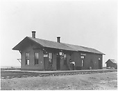 View of the Ft. Garland D&amp;RG depot looking southwest.<br /> D&amp;RG  Fort Garland, CO  ca. 1890
