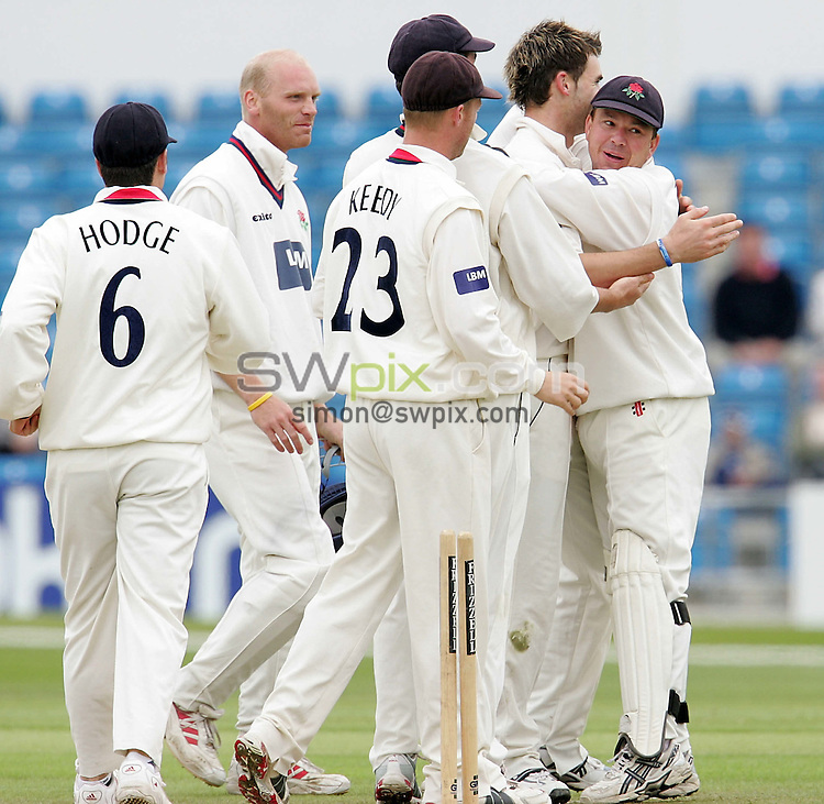 .Pix: John Clifton/SWpix.com. Frizzell County Championship, Day 4, Yorkshire v Lancashire, 11/6/05..copyright picture>>simon wilkinson>>07811267706>>..Lancashire's James Anderson celebrates taking the wicket of Yorkshire's Michael Lumb.