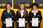Girls Orienteering finalists Rebecca Grey, Cosette Saville and Renee Beveridge. ASB College Sport Young Sportsperson of the Year Awards held at Eden Park, Auckland, on November 24th 2011.