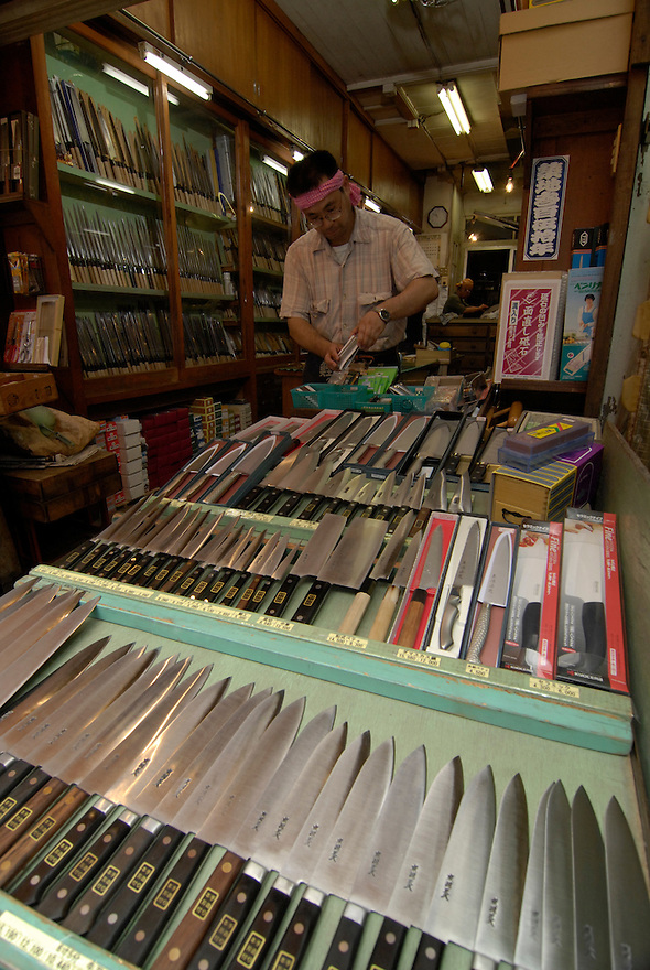 View looking in to the knife shop at Tsukiji fish market.