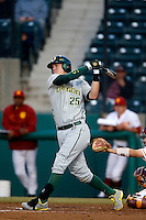 Ryon Healy #25 of the Oregon Ducks bats against the USC Trojans at Dedeaux Field on March 15, 2013 in Los Angeles, California. (Larry Goren/Four Seam Images)