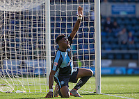 Gozie Ugwu of Wycombe Wanderers  disputes a decision during the Sky Bet League 2 match between Wycombe Wanderers and Plymouth Argyle at Adams Park, High Wycombe, England on 12 September 2015. Photo by Andy Rowland.