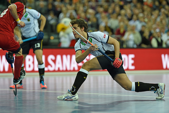 Leipzig, Germany, February 08: Timm Herzbruch #14 of Germany scores during the men bronze medal match between Germany (white) and Iran (red) on February 8, 2015 at the FIH Indoor Hockey World Cup at Arena Leipzig in Leipzig, Germany. Final score 13-2. (Photo by Dirk Markgraf / www.265-images.com) *** Local caption ***