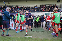 Ed Hoadley of London Scottish enters the field of play ahead of the Greene King IPA Championship match between London Scottish Football Club and Hartpury RFC at Richmond Athletic Ground, Richmond, United Kingdom on 28 October 2017. Photo by David Horn.