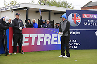 Eddie Pepperell (ENG) speaking to one of his team during the Hero Pro-am at the Betfred British Masters, Hillside Golf Club, Lancashire, England. 08/05/2019.<br /> Picture Fran Caffrey / Golffile.ie<br /> <br /> All photo usage must carry mandatory copyright credit (&copy; Golffile | Fran Caffrey)