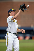 Michigan Wolverines pitcher Jack White (30) warms up before the NCAA baseball game against the Michigan State Spartans on May 7, 2019 at Ray Fisher Stadium in Ann Arbor, Michigan. Michigan defeated Michigan State 7-0. (Andrew Woolley/Four Seam Images)