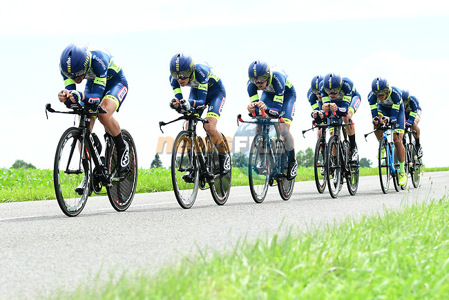 Wanty-Groupe Gobert in full flight during Stage 3 of the 2018 Criterium du Dauphine 2018 a Team Time Trial running 35km from Pont de Vaux to Louhans Chateaurenaud, France. 6th June 2018.<br /> Picture: ASO/Alex Broadway | Cyclefile<br /> <br /> <br /> All photos usage must carry mandatory copyright credit (© Cyclefile | ASO/Alex Broadway)
