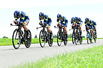 Wanty-Groupe Gobert in full flight during Stage 3 of the 2018 Criterium du Dauphine 2018 a Team Time Trial running 35km from Pont de Vaux to Louhans Chateaurenaud, France. 6th June 2018.<br /> Picture: ASO/Alex Broadway | Cyclefile<br /> <br /> <br /> All photos usage must carry mandatory copyright credit (&copy; Cyclefile | ASO/Alex Broadway)