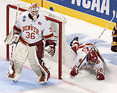 Tanner Jaillet (DU - 36), Adam Plant (DU - 28) - The University of Denver Pioneers defeated the University of Minnesota Duluth Bulldogs 3-2 to win the national championship on Saturday, April 8, 2017, at the United Center in Chicago, Illinois.