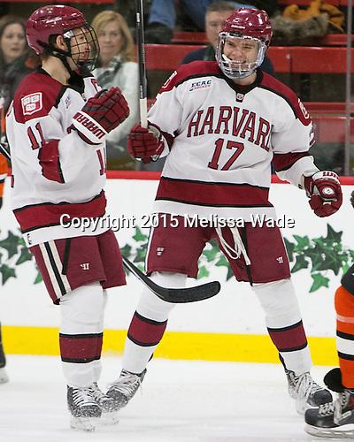 Kyle Criscuolo (Harvard - 11), Sean Malone (Harvard - 17) - The Harvard University Crimson defeated the visiting Princeton University Tigers 5-0 on Harvard's senior night on Saturday, February 28, 2015, at Bright-Landry Hockey Center in Boston, Massachusetts.