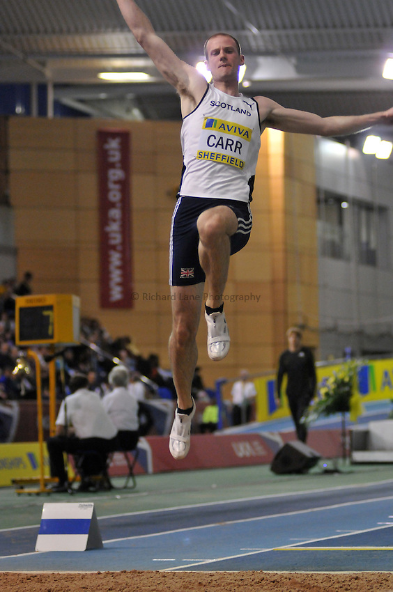 Photo: Tony Oudot/Richard Lane Photography. Aviva World Trials & UK Championships. 13/02/2010. .Mens Long Jump. .John Carr.