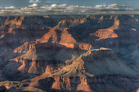 Late afternoon view from Mather Point casting shadows into the Grand Canyon