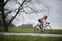 Simon Pellaud (SUI/IAM) tries to bridge the gap between the peloton and the escape group; at this point he's only 1 minute behind and 3 ahead.<br /> <br /> <br /> 78th Gent - Wevelgem in Flanders Fields (1.UWT)