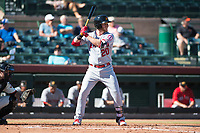 Mesa Solar Sox first baseman David MacKinnon (20), of the Los Angeles Angels organization, at bat during an Arizona Fall League game against the Scottsdale Scorpions at Scottsdale Stadium on November 2, 2018 in Scottsdale, Arizona. The shortened seven-inning game ended in a 1-1 tie. (Zachary Lucy/Four Seam Images)