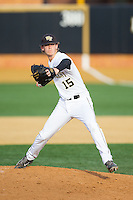 Wake Forest Demon Deacons starting pitcher Jack Fischer (15) in action against the Maryland Terrapins at Wake Forest Baseball Park on April 4, 2014 in Winston-Salem, North Carolina.  The Demon Deacons defeated the Terrapins 6-4.  (Brian Westerholt/Four Seam Images)