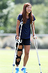 CARY, NC - JUNE 09: Yuri Kawamura on crutches. The North Carolina Courage held a training session on June 9, 2017, at WakeMed Soccer Park Field 5 in Cary, NC.