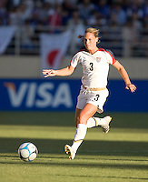 Christie Rampone runs with the ball. USA defeated Japan 4-1 at Spartan Stadium in San Jose, CA on July 28, 2007.