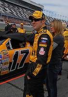 Feb 11, 2007; Daytona, FL, USA; Nascar Nextel Cup driver Matt Kenseth with wife Katie during qualifying for the Daytona 500 at Daytona International Speedway. Mandatory Credit: Mark J. Rebilas