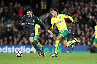Davide Zappacosta of Chelsea under pressure from Josh Murphy of Norwich City during Norwich City vs Chelsea, Emirates FA Cup Football at Carrow Road on 6th January 2018