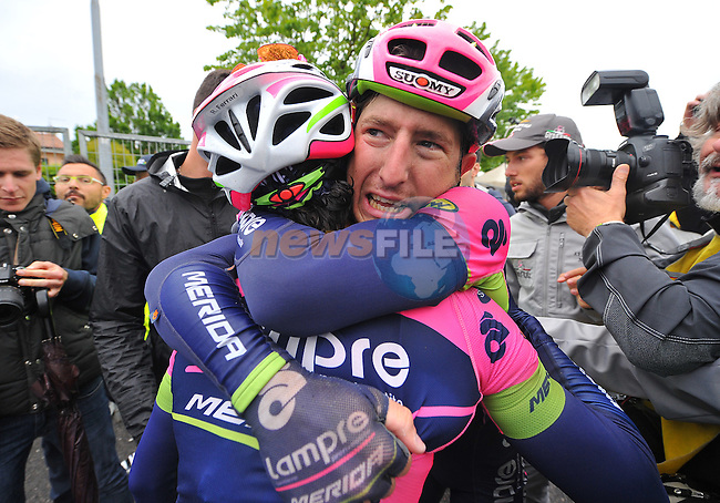 Sacha Modolo (ITA) Lampre-Merida wins Stage 13 of the 98th Giro d'Italia 2015 running 147km from Montecchio Maggiore to Jesolo. 22nd May 2015. <br /> Photo: ANSA/Luca Zennaro/www.newsfile.ie