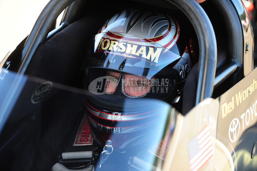 Aug. 21, 2011; Brainerd, MN, USA: NHRA top fuel dragster driver Del Worsham during the Lucas Oil Nationals at Brainerd International Raceway. Mandatory Credit: Mark J. Rebilas-