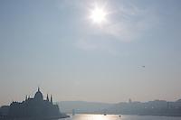 Budapest cityscape seen from Margaret bridge in Budapest, Hungary on December 06, 2012. ATTILA VOLGYI